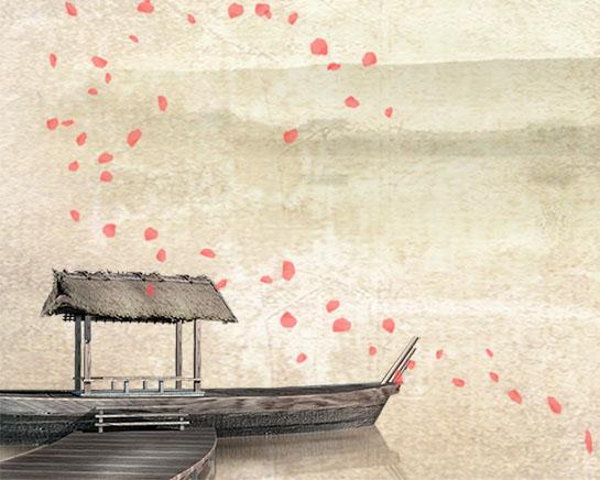 船与梅花工笔画PSD素材