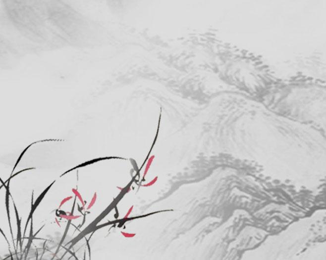山峰风景画psd素材图片