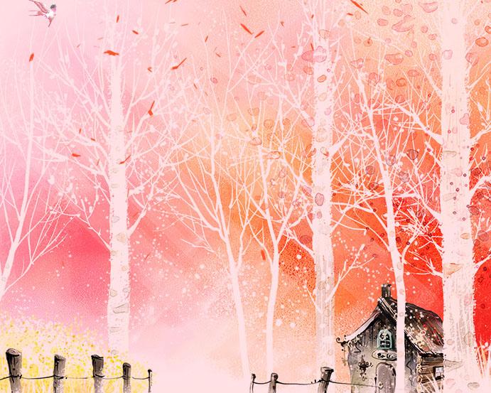 秋天树木绘画PSD素材
