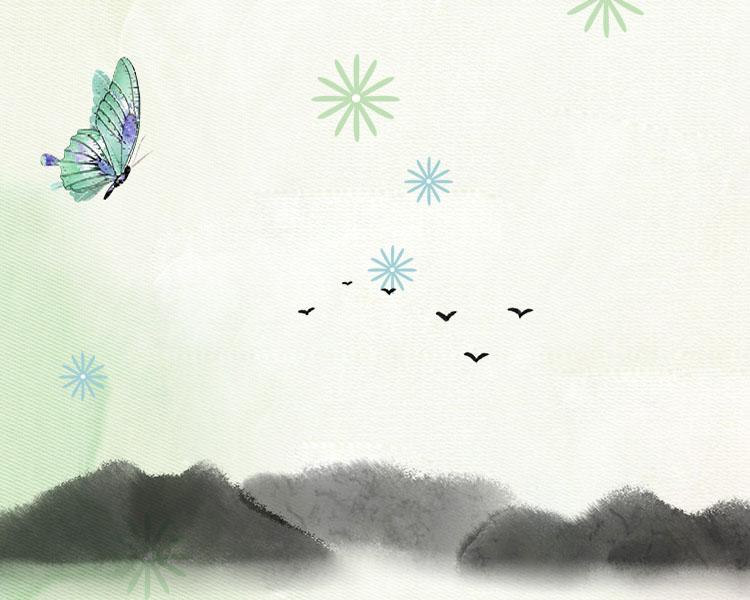 蝴蝶水墨风景画PSD素材