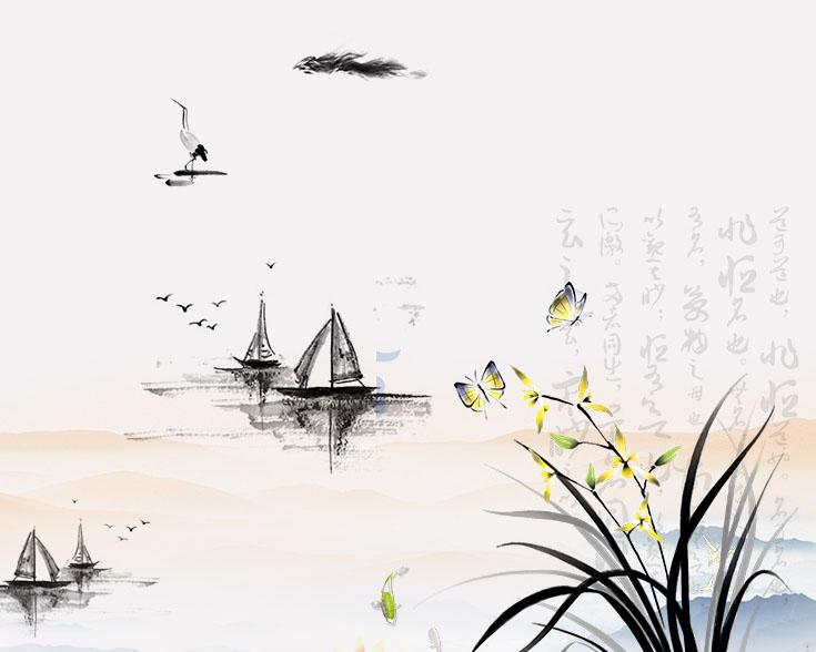 船花朵蝴蝶绘画PSD素材