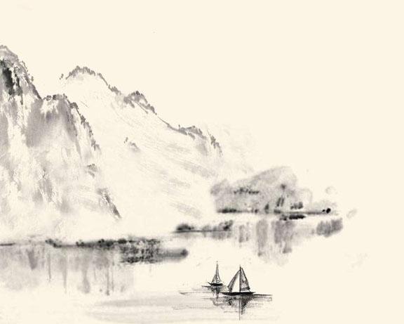 山水绘画景观PSD素材