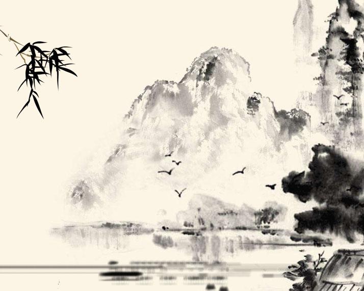 水墨中国风景画PSD素材