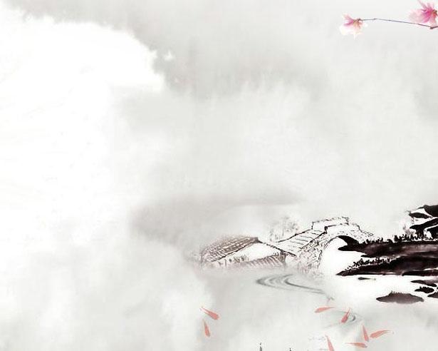 花朵小鸟背景画PSD素材