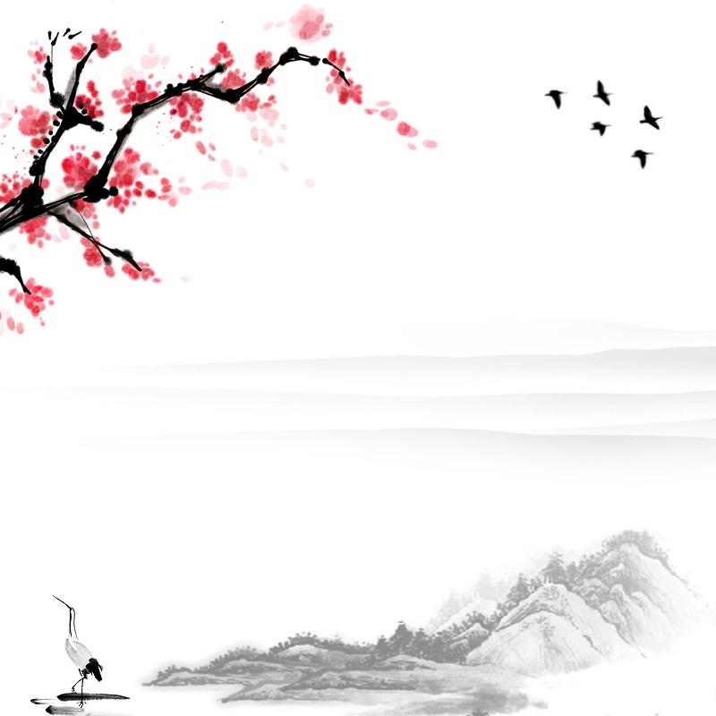 关键字: 梅花小鸟山峰水墨绘画背景中国风书画素材工笔画psd分层