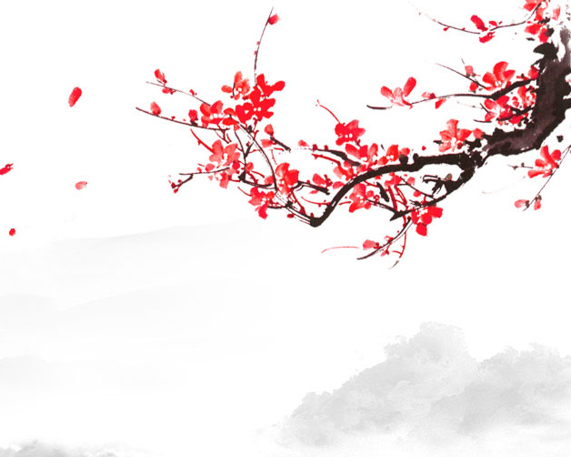 枝头花朵绘画PSD素材