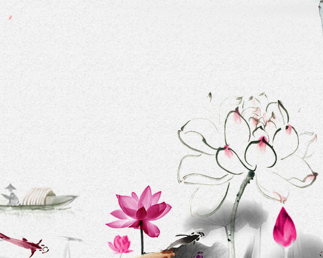 中国风花朵绘画PSD素材
