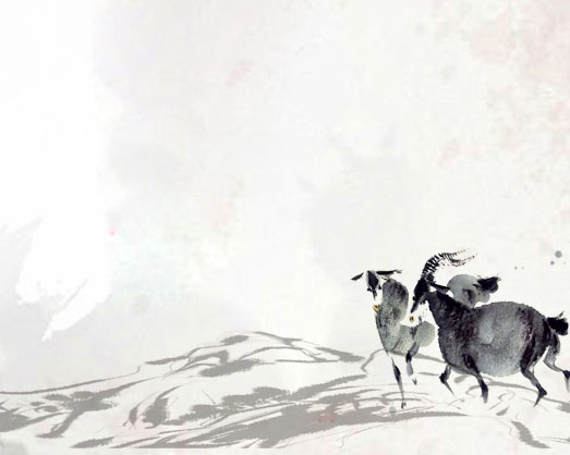 山羊水墨绘画PSD素材