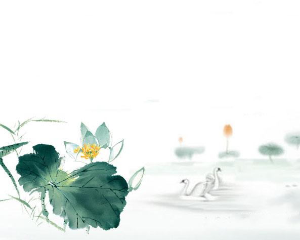湖水水墨画PSD素材