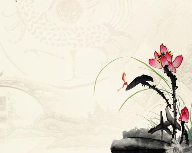 花朵与竹子水墨画PSD素材