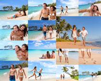 海滩爱情情侣拍摄高清图片