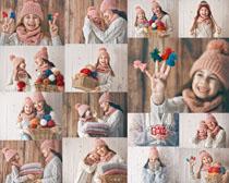 母女毛线衣服摄影高清图片