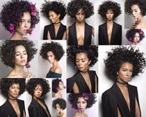 爆炸发型时尚女子摄影高清图片