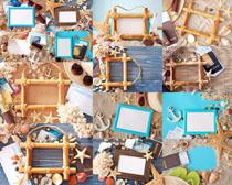 海邊材料相框攝影高清圖片