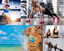 瑜伽奔跑女子摄影高清图片