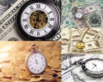 钟表与美元金融摄影高清图片