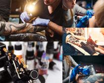 個性紋身男子攝影高清圖片