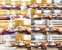 牛角面包与咖啡摄影高清图片