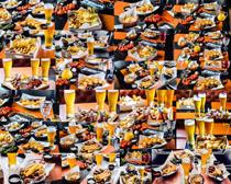 果汁烤鸡腿薯条摄影高清图片
