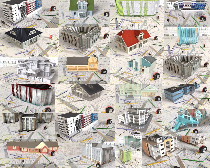 建筑图纸模型摄影高清图片
