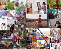 户外油画人物摄影高清图片
