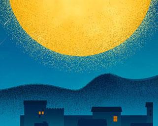 夜空月亮背景PSD素材