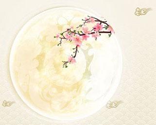 中秋月圆花朵PSD素材