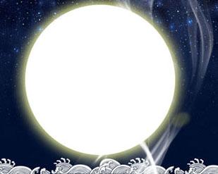 中秋圆月横幅PSD素材