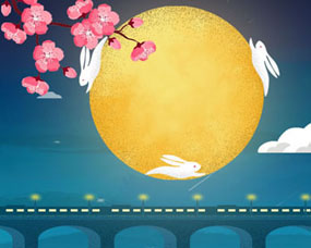 花朵月亮玉免横幅PSD素材