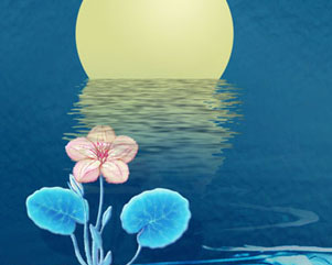 水中月亮PSD素材