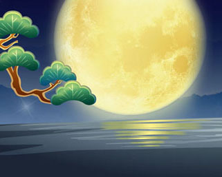 月亮小溪风景PSD素材