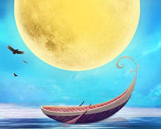 月亮船风景PSD素材