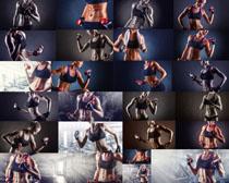 哑铃练习女子摄影高清图片
