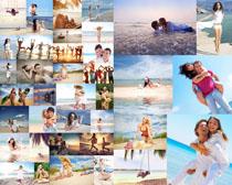 海边浪漫情侣拍摄高清图片