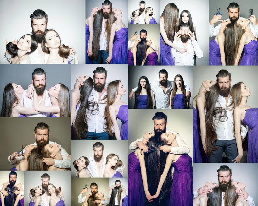發型設計師與模特攝影高清圖片