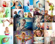 颜料与美女画画摄影高清图片