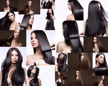 直發歐美模特女子攝影高清圖片