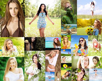 花丛中的欧美美女拍摄高清图片