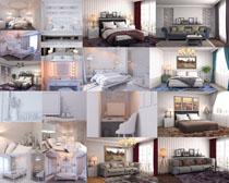 臥室家居床展示攝影高清圖片