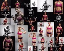 哑铃健身女子摄影高清图片