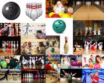 保齡球運動人物攝影高清圖片
