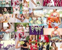 婚纱美女与花朵摄影高清图片
