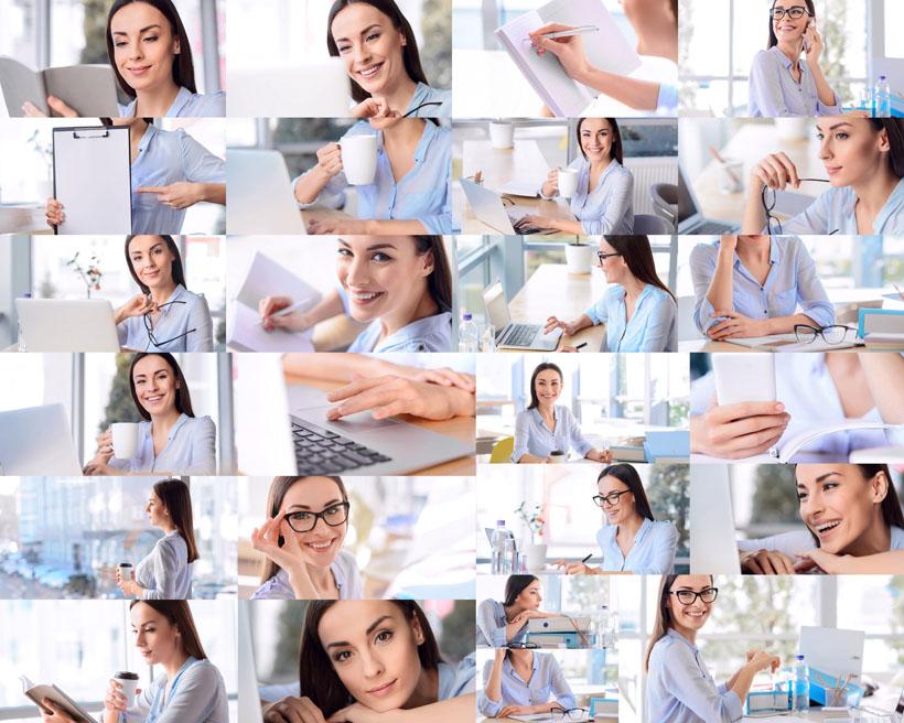 办公室女人工作摄影高清图片