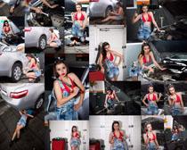 汽车修理美女摄影高清图片