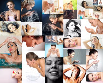 洗脸的女人摄影高清图片