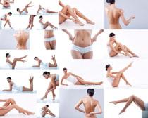 瘦身女子展示摄影高清图片