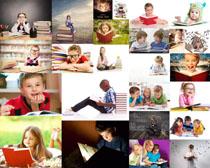 看书学习的小孩摄影高清图片