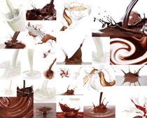 飞溅的牛奶与巧克力摄影高清图片