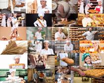 小麦面包师父摄影高清图片