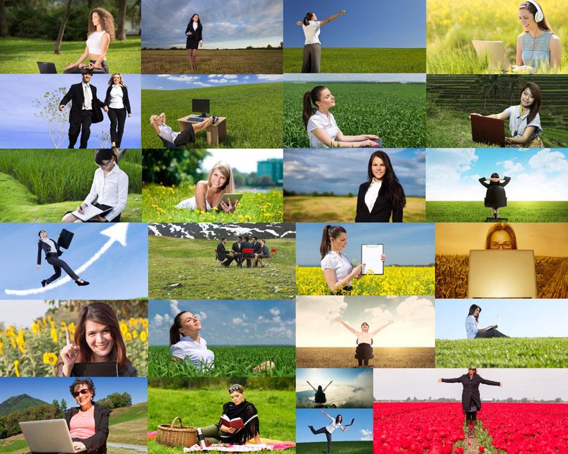 草地上的職業女性攝影高清圖片